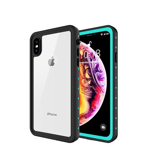 Apple iPhone Xs Max用完全防水ケース ハイブリットバンパーカバー 高級感 手触り良い 360度 W01 アップル シアン
