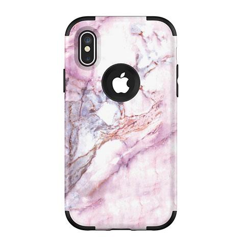 Apple iPhone Xs Max用ハイブリットバンパーケース プラスチック 兼シリコーン カバー 前面と背面 360度 フル U01 アップル ブラック
