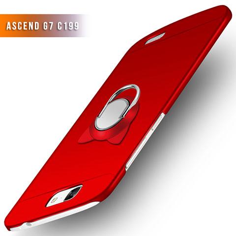 Huawei Ascend G7用ハードケース プラスチック 質感もマット アンド指輪 ファーウェイ レッド