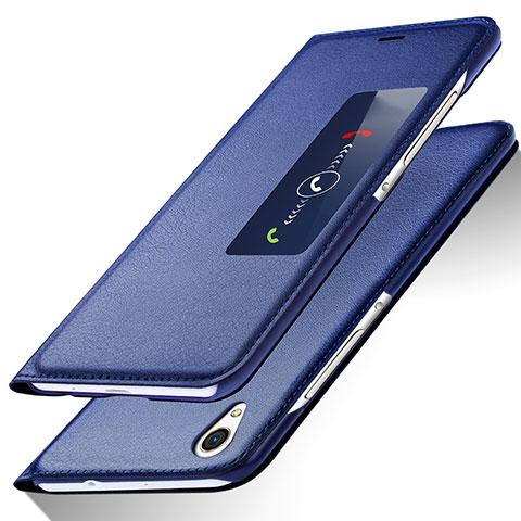 Huawei Ascend P7用手帳型 レザーケース スタンド L01 ファーウェイ ネイビー