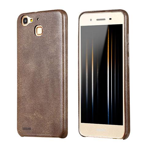 Huawei Enjoy 5S用ケース 高級感 手触り良いレザー柄 ファーウェイ ブラウン