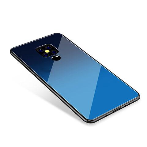 Huawei Mate 20用ハイブリットバンパーケース プラスチック 鏡面 虹 グラデーション 勾配色 カバー ファーウェイ ネイビー