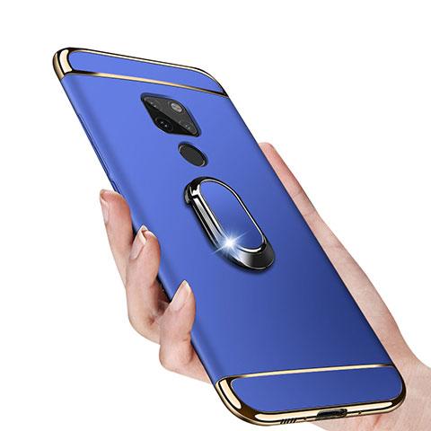 Huawei Mate 20用ケース 高級感 手触り良い メタル兼プラスチック バンパー アンド指輪 マグネット式 ファーウェイ ネイビー
