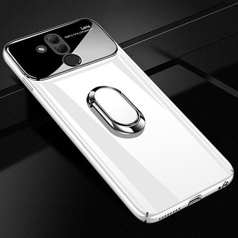Huawei Mate 20 Lite用ハードケース プラスチック 鏡面 360度 フルカバー アンド指輪 マグネット式 ファーウェイ ホワイト