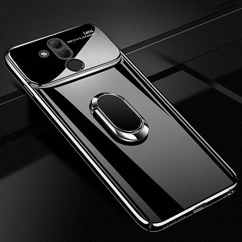 Huawei Mate 20 Lite用ハードケース プラスチック 鏡面 360度 フルカバー アンド指輪 マグネット式 ファーウェイ ブラック