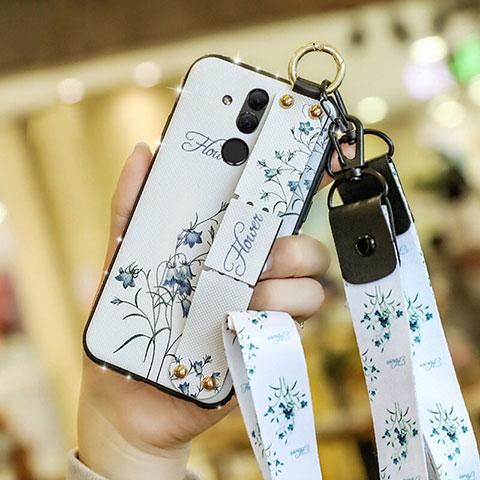 Huawei Mate 20 Lite用シリコンケース ソフトタッチラバー 花 カバー ファーウェイ ホワイト