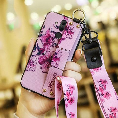 Huawei Mate 20 Lite用シリコンケース ソフトタッチラバー 花 カバー ファーウェイ ピンク