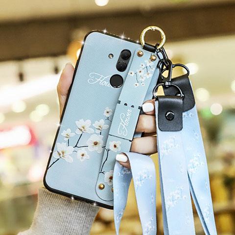 Huawei Mate 20 Lite用シリコンケース ソフトタッチラバー 花 カバー ファーウェイ ブルー