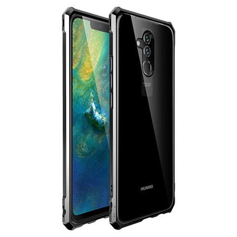 Huawei Mate 20 Lite用ケース 高級感 手触り良い アルミメタル 製の金属製 バンパー 鏡面 カバー ファーウェイ ブラック