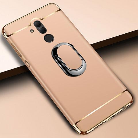 Huawei Mate 20 Lite用ケース 高級感 手触り良い メタル兼プラスチック バンパー アンド指輪 A01 ファーウェイ ゴールド