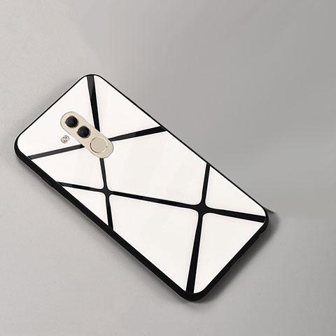 Huawei Mate 20 Lite用ハイブリットバンパーケース プラスチック パターン 鏡面 カバー ファーウェイ シルバー