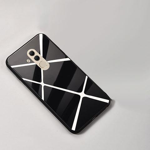 Huawei Mate 20 Lite用ハイブリットバンパーケース プラスチック パターン 鏡面 カバー ファーウェイ ブラック