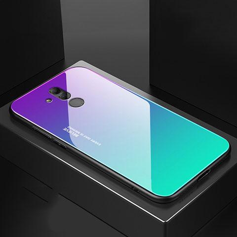 Huawei Mate 20 Lite用ハイブリットバンパーケース プラスチック 鏡面 カバー M02 ファーウェイ シアン