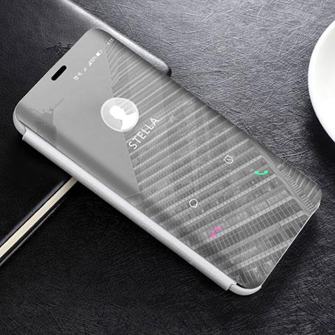 Huawei Mate 20 Lite用手帳型 レザーケース スタンド 鏡面 カバー L02 ファーウェイ シルバー
