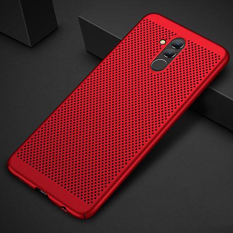 Huawei Mate 20 Lite用ハードケース プラスチック メッシュ デザイン カバー ファーウェイ レッド