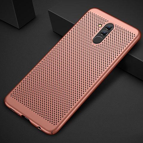Huawei Mate 20 Lite用ハードケース プラスチック メッシュ デザイン カバー ファーウェイ ローズゴールド