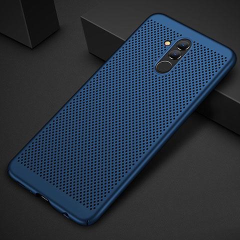 Huawei Mate 20 Lite用ハードケース プラスチック メッシュ デザイン カバー ファーウェイ ネイビー