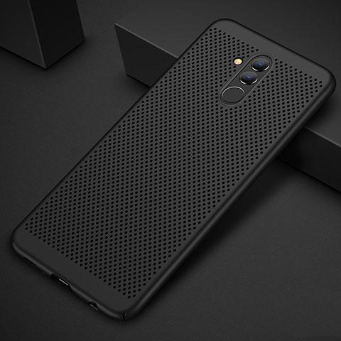 Huawei Mate 20 Lite用ハードケース プラスチック メッシュ デザイン カバー ファーウェイ ブラック