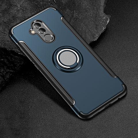 Huawei Mate 20 Lite用ハイブリットバンパーケース プラスチック アンド指輪 兼シリコーン カバー S01 ファーウェイ ネイビー