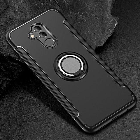 Huawei Mate 20 Lite用ハイブリットバンパーケース プラスチック アンド指輪 兼シリコーン カバー S01 ファーウェイ ブラック