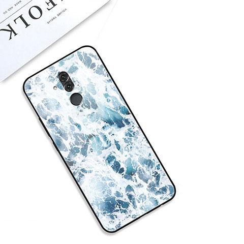 Huawei Mate 20 Lite用ハイブリットバンパーケース プラスチック パターン 鏡面 カバー S01 ファーウェイ ネイビー