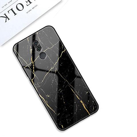 Huawei Mate 20 Lite用ハイブリットバンパーケース プラスチック パターン 鏡面 カバー S01 ファーウェイ ブラック