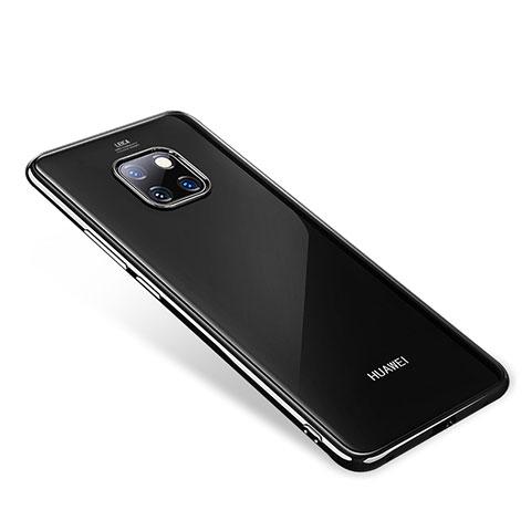 Huawei Mate 20 Pro用極薄ソフトケース シリコンケース 耐衝撃 全面保護 クリア透明 H01 ファーウェイ ブラック