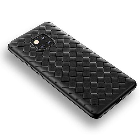 Huawei Mate 20 Pro用シリコンケース ソフトタッチラバー ツイル B02 ファーウェイ ブラック
