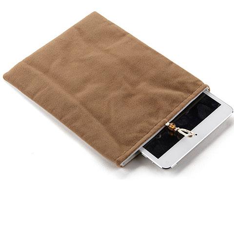 Huawei MediaPad X2用ソフトベルベットポーチバッグ ケース ファーウェイ ブラウン
