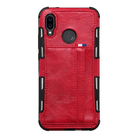 Huawei Nova 3e用手帳型 レザーケース スタンド カバー L01 ファーウェイ レッド