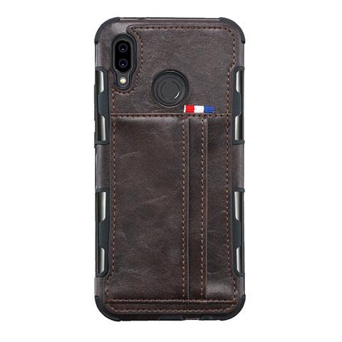 Huawei Nova 3e用手帳型 レザーケース スタンド カバー L01 ファーウェイ ブラウン