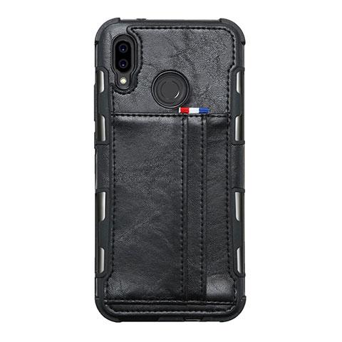 Huawei Nova 3e用手帳型 レザーケース スタンド カバー L01 ファーウェイ ブラック