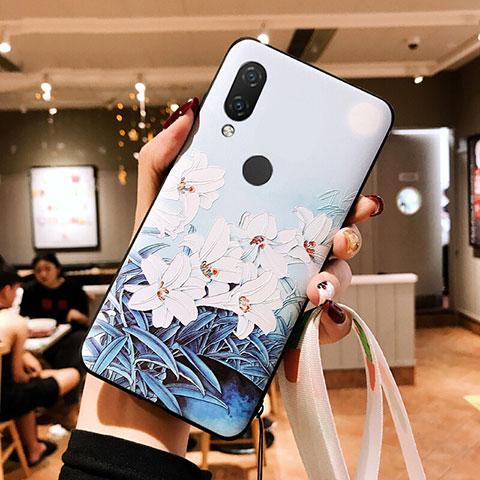 Huawei Nova 3e用シリコンケース ソフトタッチラバー 花 ファーウェイ ホワイト