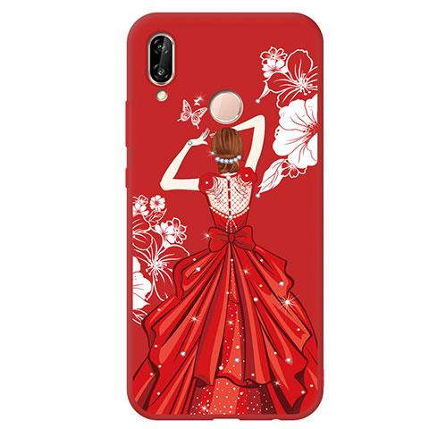 Huawei Nova 3e用シリコンケース ソフトタッチラバー バタフライ ドレスガール ドレス少女 ファーウェイ レッド