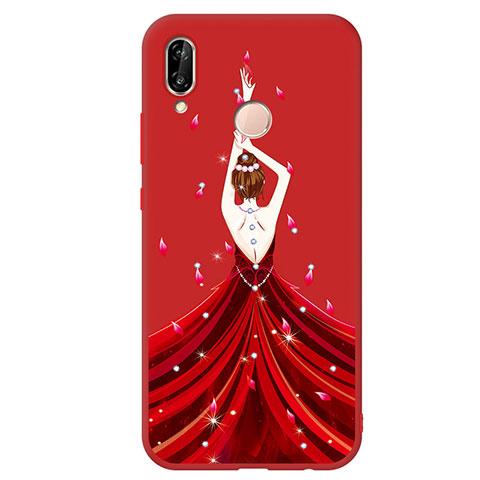 Huawei Nova 3e用シリコンケース ソフトタッチラバー バタフライ ドレスガール ドレス少女 S01 ファーウェイ レッド