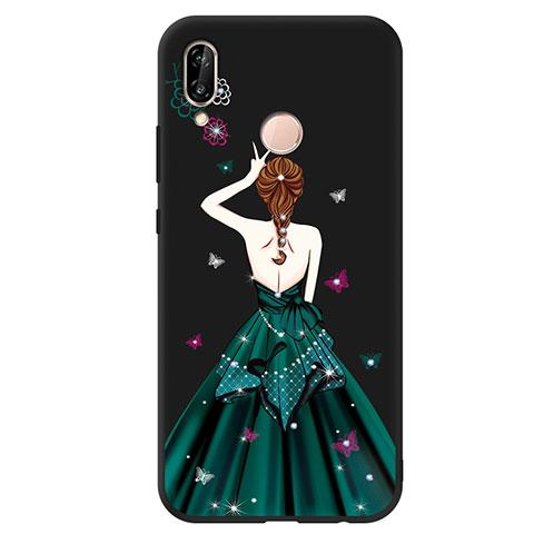 Huawei Nova 3e用シリコンケース ソフトタッチラバー バタフライ ドレスガール ドレス少女 ファーウェイ グリーン