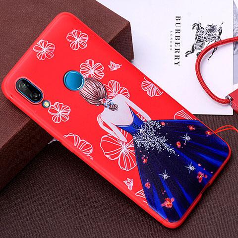 Huawei Nova 3e用シリコンケース ソフトタッチラバー バタフライ ドレスガール ドレス少女 カバー ファーウェイ ネイビー