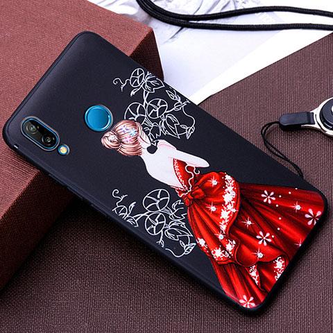 Huawei Nova 3e用シリコンケース ソフトタッチラバー バタフライ ドレスガール ドレス少女 カバー ファーウェイ レッド・ブラック