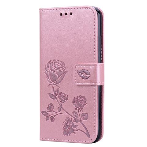 Huawei Nova 3e用手帳型 レザーケース スタンド カバー L02 ファーウェイ ローズゴールド
