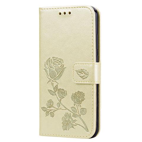 Huawei Nova 3e用手帳型 レザーケース スタンド カバー L02 ファーウェイ ゴールド