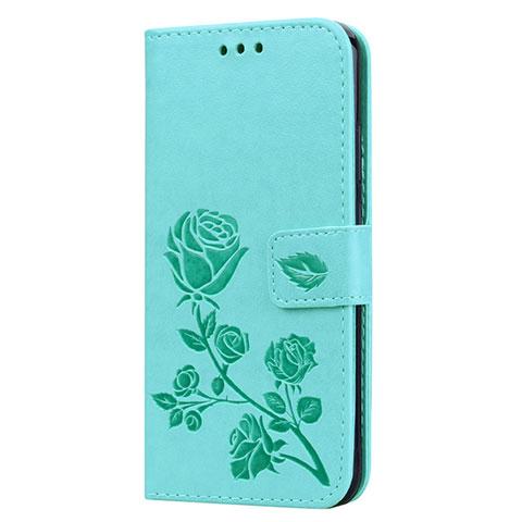 Huawei Nova 3e用手帳型 レザーケース スタンド カバー L02 ファーウェイ グリーン