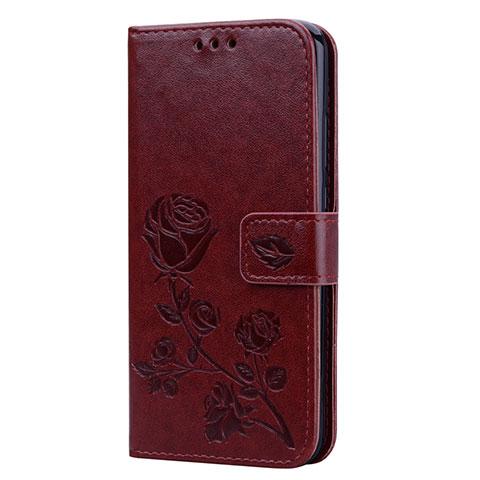 Huawei Nova 3e用手帳型 レザーケース スタンド カバー L02 ファーウェイ ブラウン