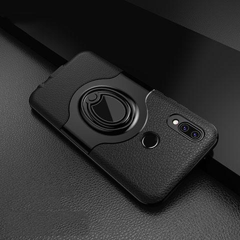 Huawei Nova 3e用シリコンケース ソフトタッチラバー レザー柄 アンド指輪 マグネット式 ファーウェイ ブラック