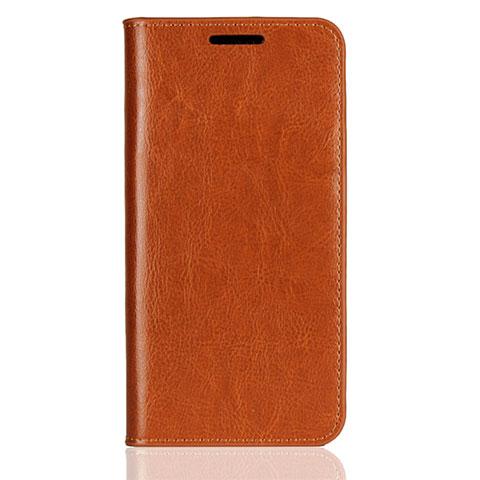 Huawei Nova 3e用手帳型 レザーケース スタンド カバー L05 ファーウェイ オレンジ