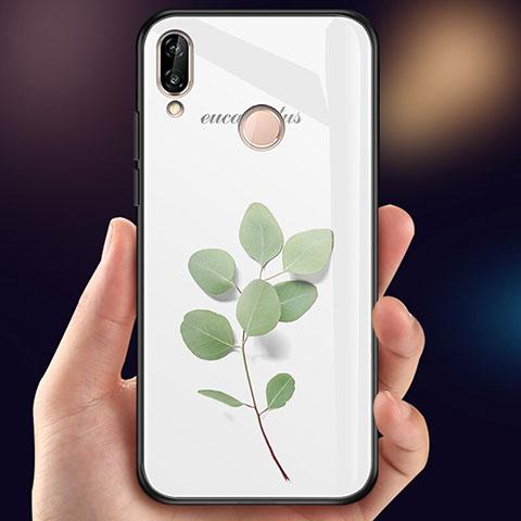 Huawei Nova 3e用ハイブリットバンパーケース プラスチック 鏡面 花 カバー ファーウェイ グリーン