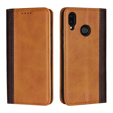 Huawei Nova 3e用手帳型 レザーケース スタンド カバー L04 ファーウェイ オレンジ