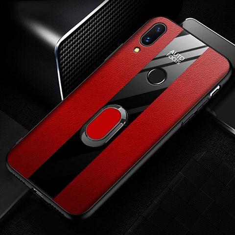 Huawei Nova 3e用シリコンケース ソフトタッチラバー レザー柄 L01 ファーウェイ レッド