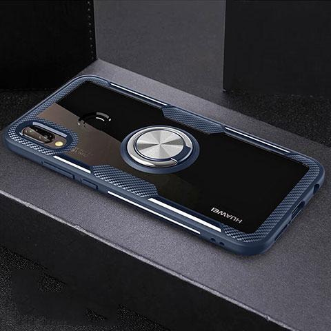 Huawei Nova 3e用360度 フルカバーハイブリットバンパーケース クリア透明 プラスチック 鏡面 アンド指輪 マグネット式 ファーウェイ ネイビー