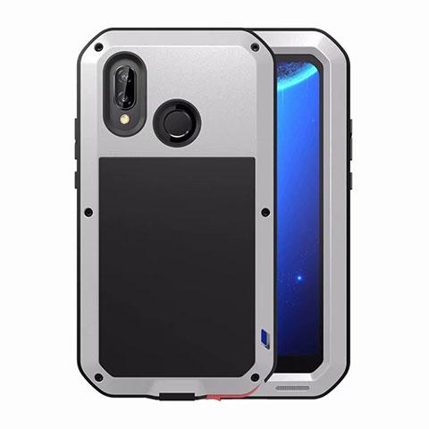 Huawei Nova 3e用ケース 高級感 手触り良い アルミメタル 製の金属製 バンパー 鏡面 カバー ファーウェイ シルバー