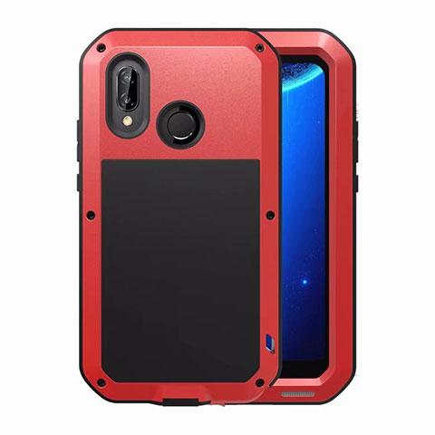 Huawei Nova 3e用ケース 高級感 手触り良い アルミメタル 製の金属製 バンパー 鏡面 カバー ファーウェイ レッド